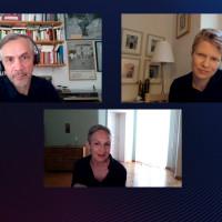 """lit.COLOGNE 2021 Digital: 28.05. """"lit.COLOGNE-Patenschaft"""": v.l. Lutz Seiler, Marion Brasch, Nadja Küchenmeister/ ©WECAP/lit.COLOGNE"""