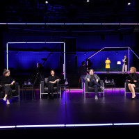 "lit.COLOGNE 2021 Digital: 29.05. ""Roger Willemsen Abend"": v.l. Nele Pollatschek, Naika Foroutan, Wolfram Eilenberger, Katja Riemann / ©lit.COLOGNE/Ast/Juergens"